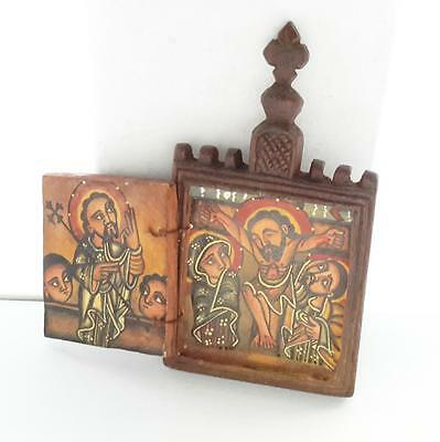 antique Ethiopian Coptic Christian Orthodox Old Wood Icon Triptych Painted