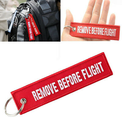 2 x Remove Before Flight Keychain Red Embroidered Luggage Tag Key Chain Ring