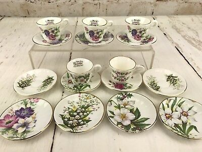 Mismatched Mini Miniature Cup Saucer Lot of 16 pc / 5 Cups 11 Saucers / Teaparty