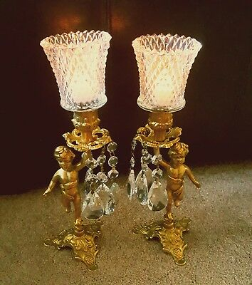 Cherubs Antique Vintage Candle Holders Brass .
