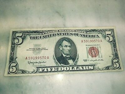 1963 RED seal $5 United states  Birth Year Note 59 1995 70