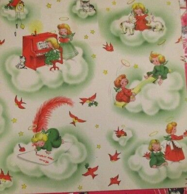Vintage UNUSED MCM CHRISTMAS GIFT WRAPPING Green Paper Gibson's Sky Magic Angels