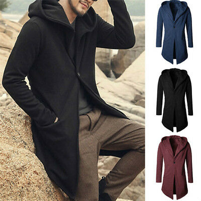 Mens Coat Winter Trench Coat Outwear Overcoat Long Jacket Fashion Parka Cardigan