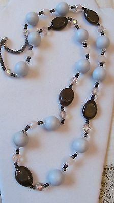 """Estate Vintage Mint Green, Brown & Faux Clear Crystal Beaded Necklace Euc 34"""""""