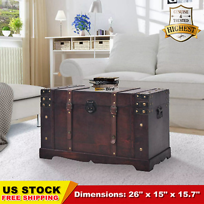 Old Fashioned Wood Storage Trunk Wooden Treasure Chest Vintage Antique-style HOT