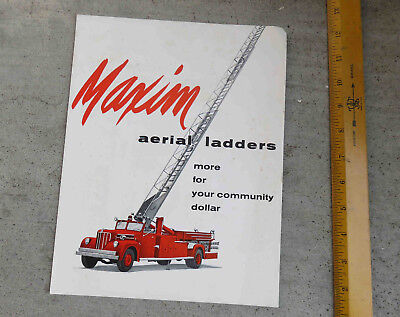 Original c 1950s  Maxim  Aerial Ladder Brochure Fire Fighting