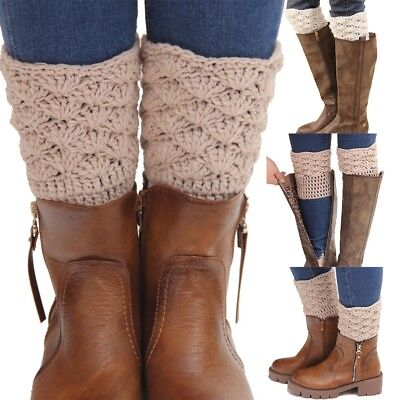 Women Warm Leg Cuffs Toppers Crochet Winter Warmers Ankle Knit Short Boot Socks