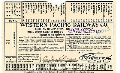Orig  vintage,used, Western Pacific Ry 1910 ticket,Doyle, Cal and  San Francisco
