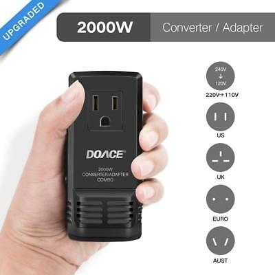 [Upgraded] DOACE C8 Mini Transformer 2000W Worldwide Travel Converter Adapter, S