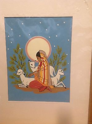 Harrison Begay Young Navajo Woman W/Lambs Rest Moonlight Silk Screen Print Moon