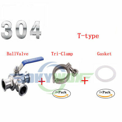 """1.5"""" 304 SUS Three way Clamp Connection T-Type Sanitary Ball valve"""