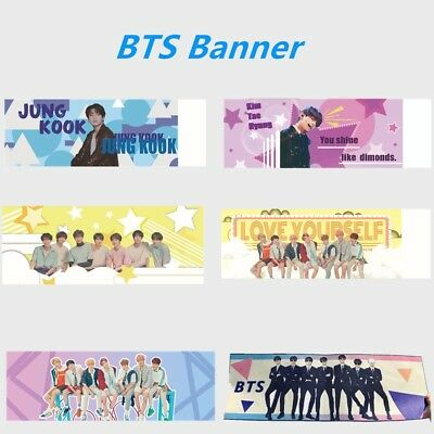 Kpop BTS Concert Airport Support Fabric Banner Jungkook V Suga Hang up Poster