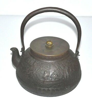 Antique Japanese Signed Ryubun-do Tetsubin Iron Tea Kettle Lotus 1800'S