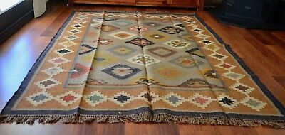 Kilim Rug Indian Jute Wool Large Hand Knotted 180x275cm 6x9ft Geometric KR1801