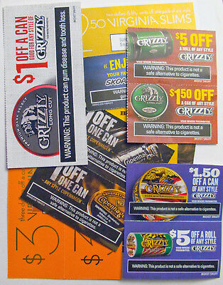 $21 Lot of Tobacco Coupons Grizzly Red Seal Skoal Copenhagen Black Mild Roll Can
