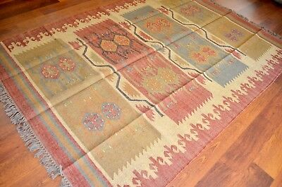 Kilim Rug Indian Jute Wool Large Hand Knotted 175x245cm 5.5x8ft Geometric KR1803