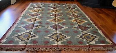 Kilim Rug Indian Jute Wool Large Hand Knotted 180x275cm 6x9ft Geometric KR1804