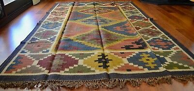 Kilim Rug Indian Jute Wool Large Hand Knotted 180x275cm 6x9ft Geometric KR1805
