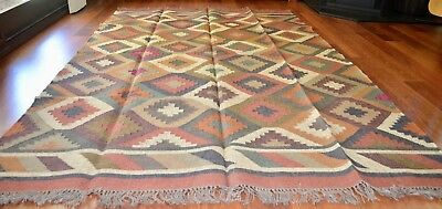 Kilim Rug Indian Jute Wool Large Hand Knotted 180x275cm 6x9ft Geometric KR1808
