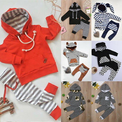 2PCS Infant Newborn Baby Boy Girl Hooded T-shirt Tops+Pants Outfit Clothes 0-24M