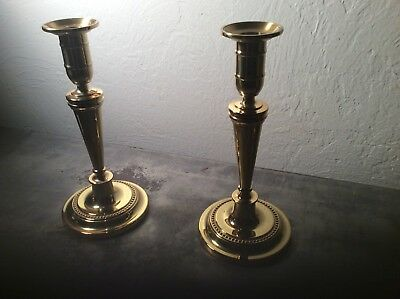 Stunning Smithsonian Baldwin Heavy English Brass Candle Sticks