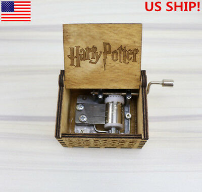 US! New Harry Potter-Engraved Wooden Music Box interesting Toys Xmas Kids Gift