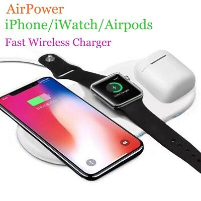 Airpower 3in1 Qi Wireless Charger For iPhone X XS iWatch Fast Charge for Samsung