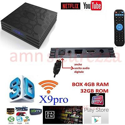 Smart TV BOX X9 T9 PRO Android  4GB RAM 32GB 4K IPTV GPU 5 CORE QUAD WIFI dazn
