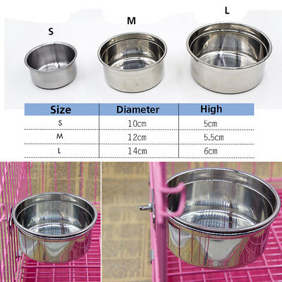 Hang-on Stainless Steel Bowl Metal For Pet Dog Cat Crate Cage Food Water Bowl AU