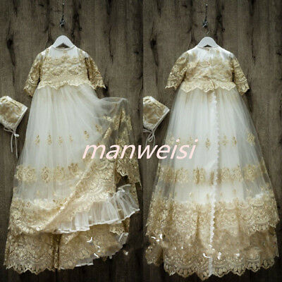 Champagne Vintage Robe Baby Girls Dresses Christening Gowns Lace Bonnet Baptism