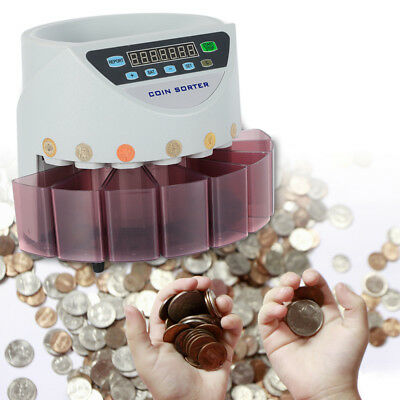 Portable CCD Sensor LED Auto Electronic Money Coin Counting & Sorting Machine UK