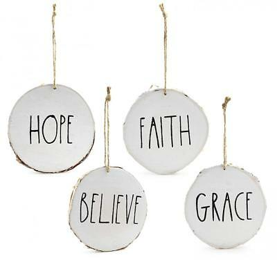 Set of 4 Modern Farmhouse Rustic Rae Dunn Inspired Christmas Ornaments with...