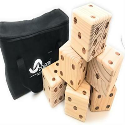❤ Toy Kids Oojami Giant Wooden Yard Dice W/ Carrying Canvas Bag Game Play Gift ❤