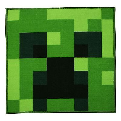 Minecraft Creeper Square Rug - Kids / Teens Bedroom Green Official New