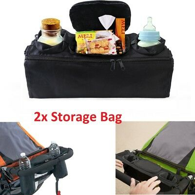 2x Baby Pushchair Pram Storage Bag Stroller Buggy Food Bottle Holder Organiser
