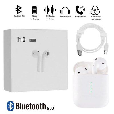 i10 TWS Bluetooth Earphone Touch Earbuds Wireless True Stereo for Smartphone PC