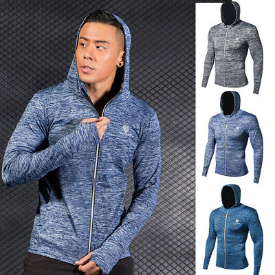 Men's Sports Hoodie Tight fit Full zip up Shirts Workout Gym Top with Thumbhole