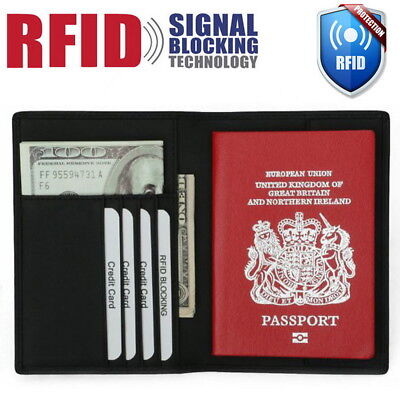 Genuine Leather RFID Block Passport Holder Wallet Travel Card Case Organizer
