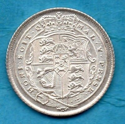 1816 SILVER SIXPENCE COIN. KING GEORGE III. TANNER. BEAUTIFUL CONDITION 6d.