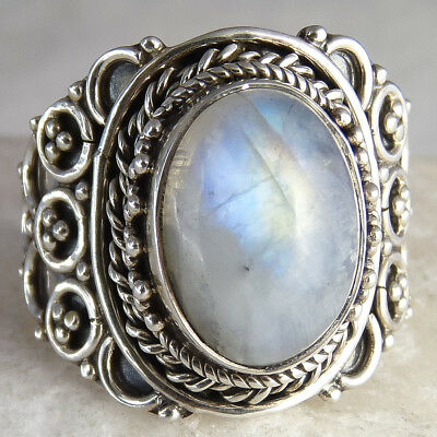FILIGREE LACE Vintage Silversari Ring Size US 8.25 Solid 925 Silver + MOONSTONE