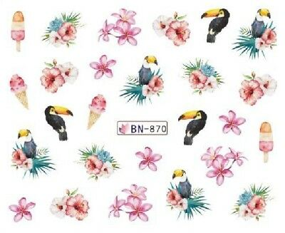 Nail Art Decals Transfers Stickers Birds Flowers Toucans (BN870)