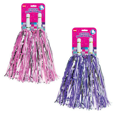 JUMBO Cheerleading Pom Poms Girls Dance Cheer Group Pink Purple Fancy Dress Lot