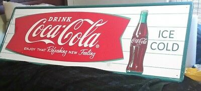 "Coca Cola Advertising ""Fishtail"" Sign- ""Enjoy That Refreshing New Feeling"""