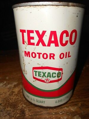 vintage empty metal 1 quart texaco oil can in good shape used
