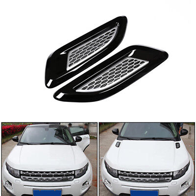 2Pc Black Air Vent Outlet Dummy Hood Trim for Discovery 4 Range Rover Evoque AMS