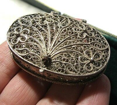 Beautiful Old Vintage Intricate 800 Silver Filigree Large Pill Box Trinket