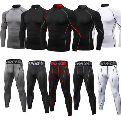 Mens Compression Outfit Mock Neck Shirt Athletic Fitness Gym Spors Suit Cool Dry