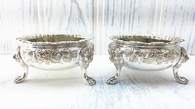 Victorian silver plated salts, pair Baroque salt cellars, antique salt pots