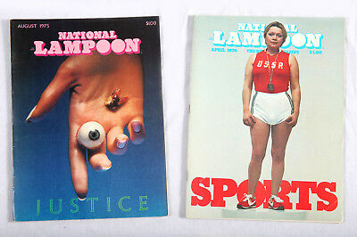 NATIONAL LAMPOON Magazines X2 Aug 75, April 76 JUSTICE SPORTS Beautiful!!!
