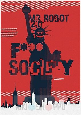 Poster A3 Mr. Robot Democracy Has Been Hacked Wake Up FSociety Serie Cartel 08